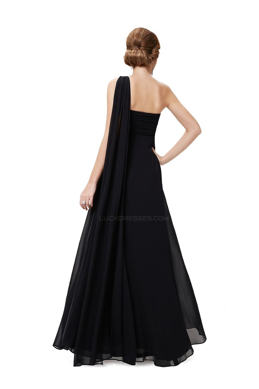 Empire One-Shoulder Long Black Chiffon Bridesmaid Dresses/Evening ...