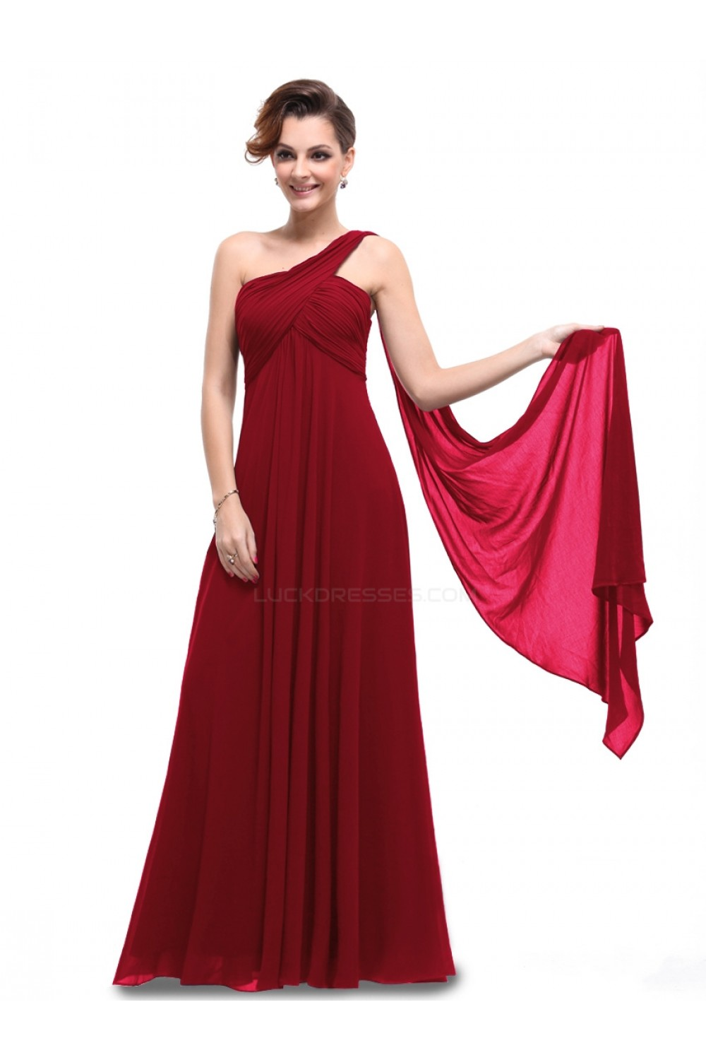 One shoulder long burgundy chiffon bridesmaid dressesevening empire one shoulder long burgundy chiffon bridesmaid dressesevening dressesmaternity dresses bd010296 ombrellifo Gallery