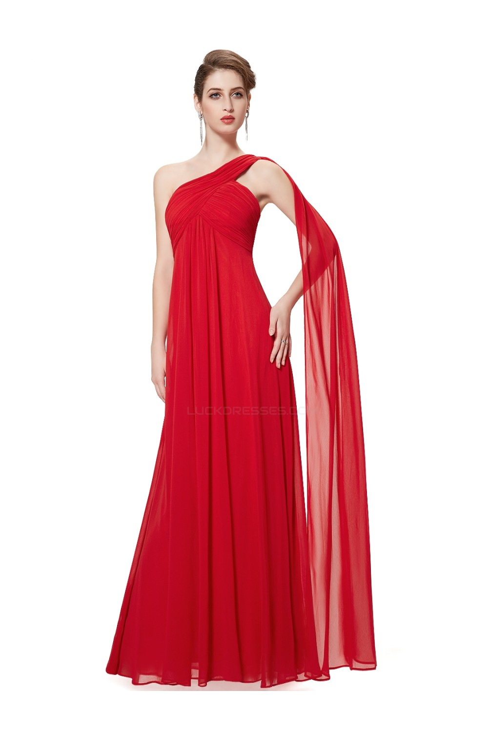 8ae94779785 Empire One-Shoulder Long Red Chiffon Bridesmaid Dresses Evening ...
