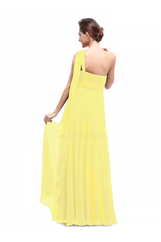 empire oneshoulder long yellow chiffon bridesmaid dresses