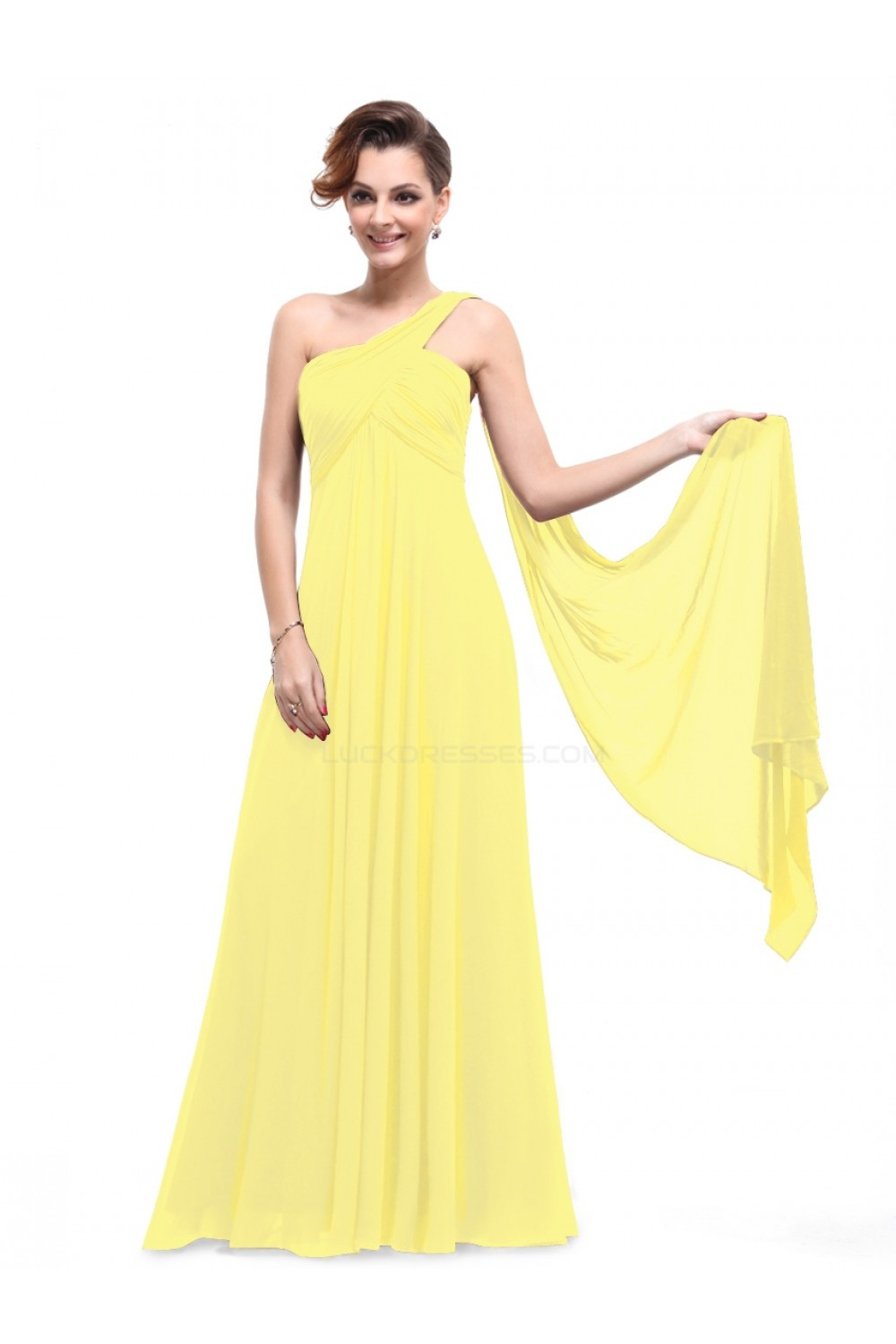 d3b0b24c9b Empire One-Shoulder Long Yellow Chiffon Bridesmaid Dresses ...