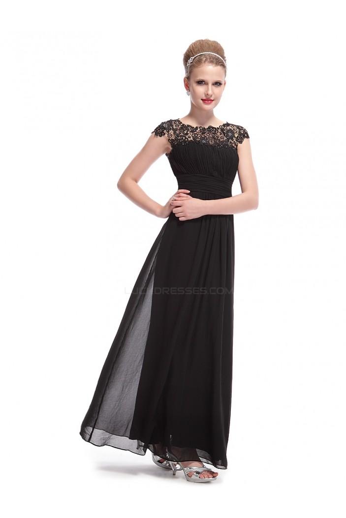 A-Line Cap-Sleeve Long Black Chiffon Bridesmaid Dresses Evening ... 762709da2