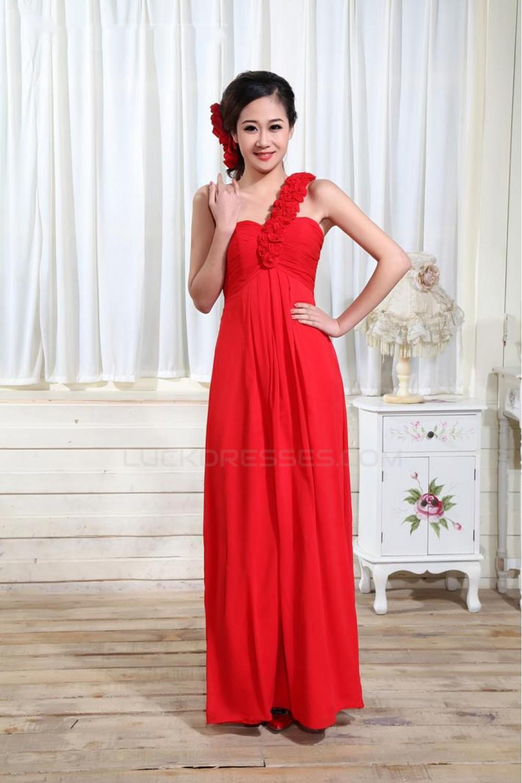 c53172b1362 Empire One-Shoulder Long Red Chiffon Bridesmaid Dresses/Evening Dresses/Maternity  Dresses BD010304