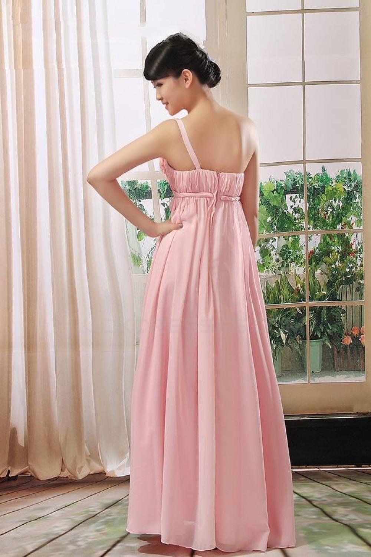 Empire One-Shoulder Long Pink Chiffon Bridesmaid Dresses/Evening ...