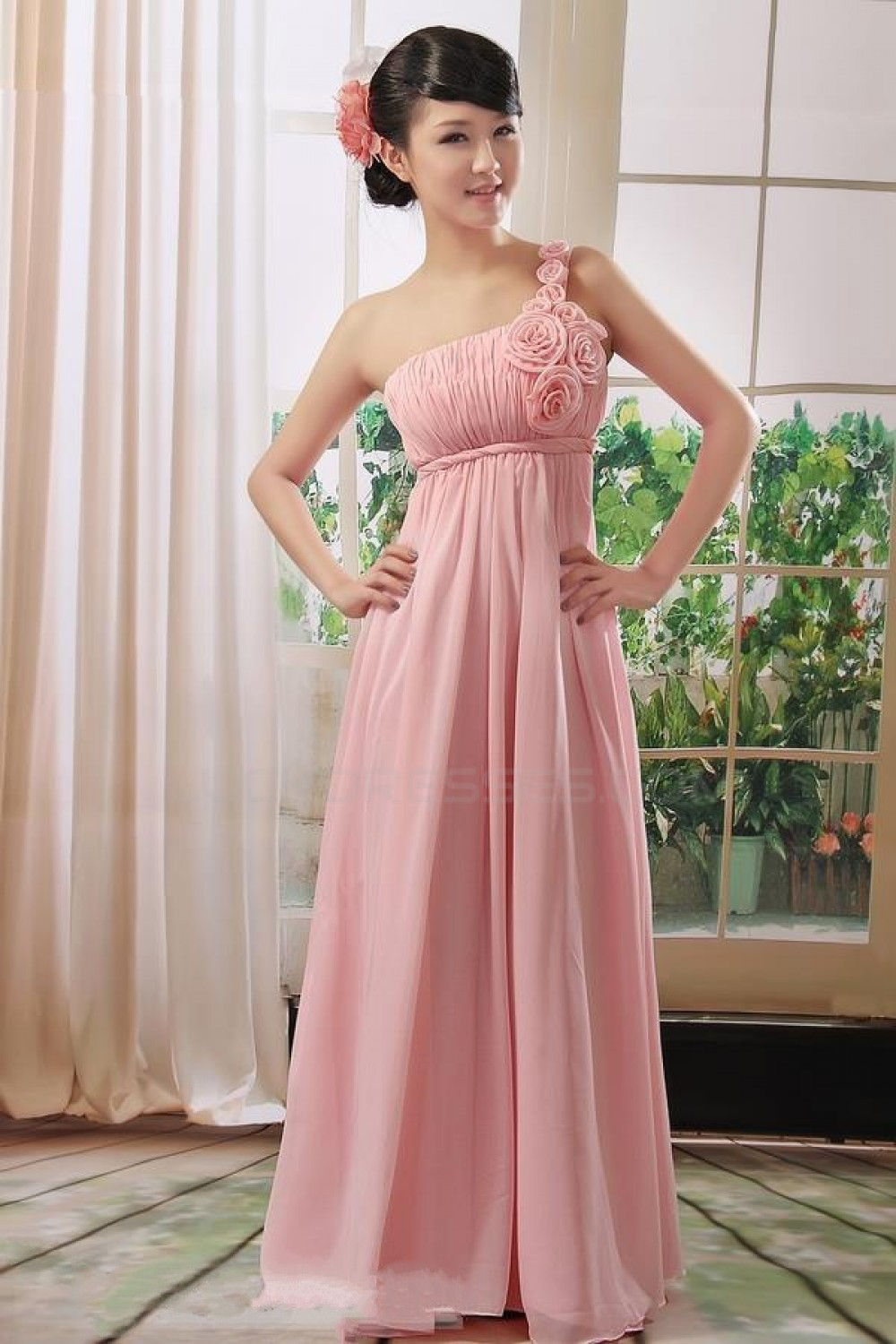 Empire One-Shoulder Long Pink Chiffon Bridesmaid Dresses/Evening ...