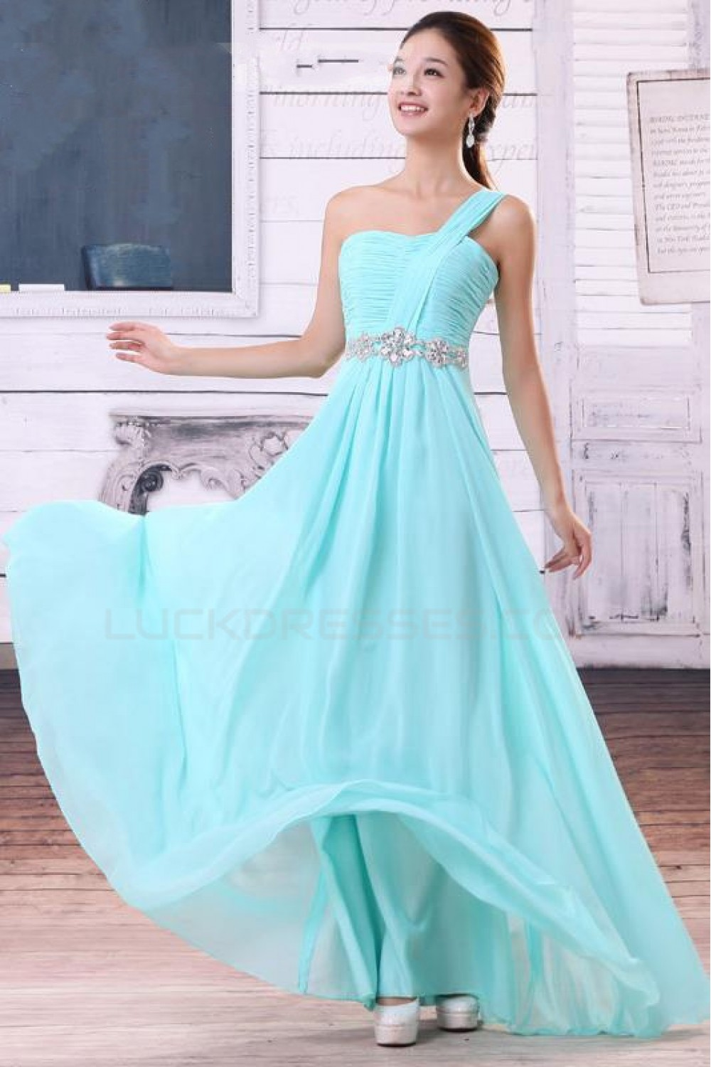 Line One-Shoulder Long Blue Chiffon Bridesmaid Dresses/Wedding Party ...