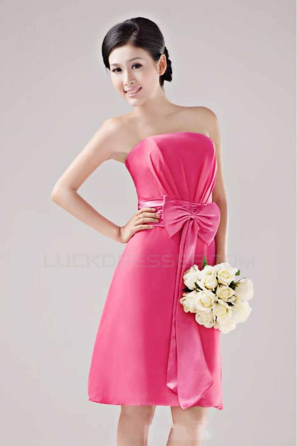 A-Line Strapless Short Hot Pink Bridesmaid Dresses/Wedding Party ...
