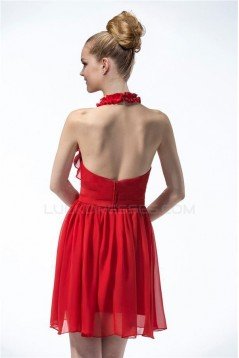 A-Line Halter Short Red Bridesmaid Dresses/Cocktail/Homecoming Dresses BD010316