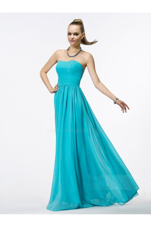 Line Strapless Long Blue Chiffon Bridesmaid Dresses/Wedding Party ...
