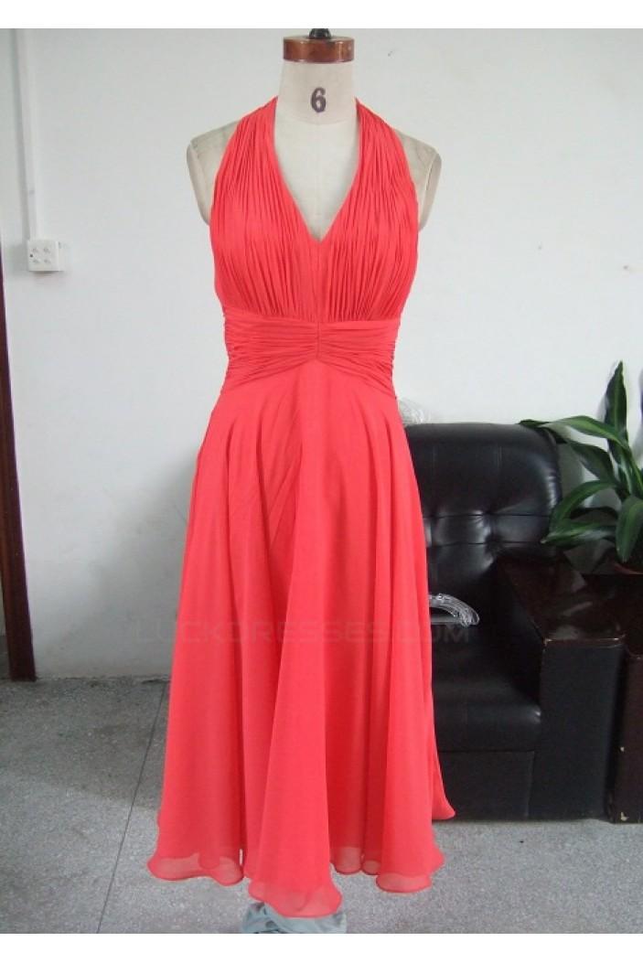 A-Line V-Neck Halter Short Chiffon Bridesmaid Dresses/Wedding Party Dresses BD010329