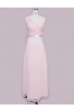 A-Line One-Shoulder Long Pink Chiffon Bridesmaid Dresses/Wedding Party Dresses BD010331