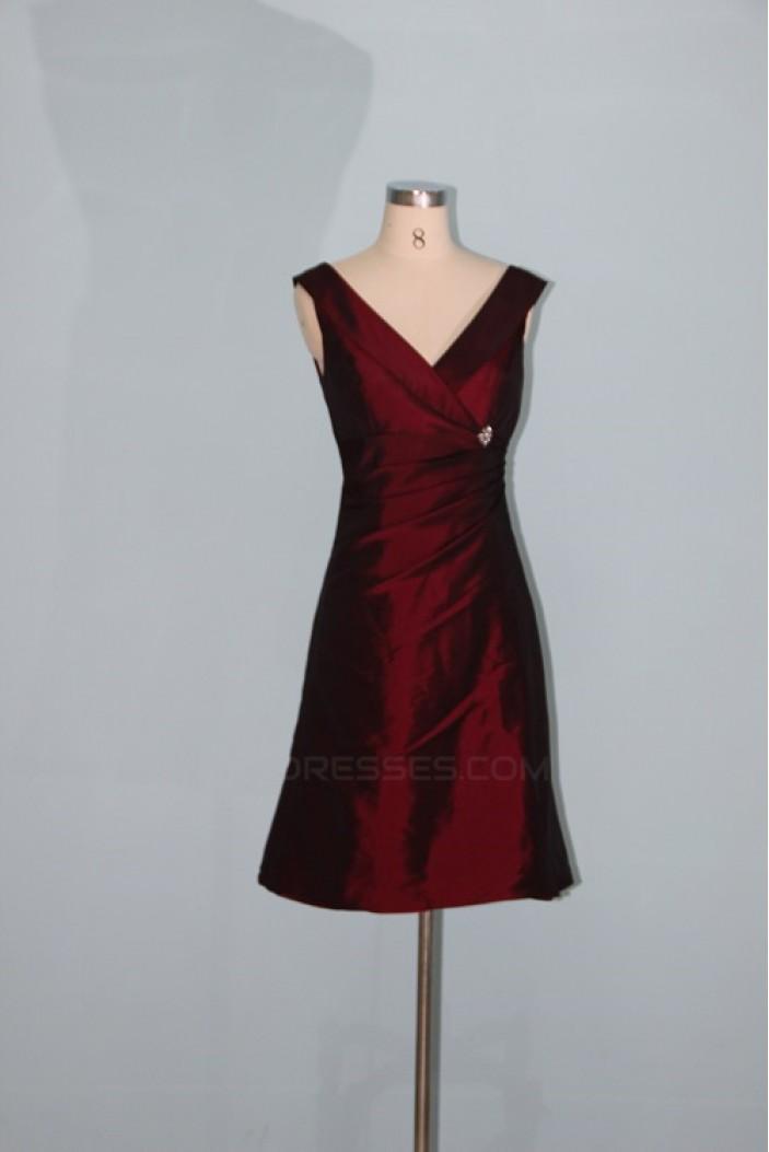 A-Line Short V-Neck Taffeta Bridesmaid Dresses/Wedding Party Dresses BD010334