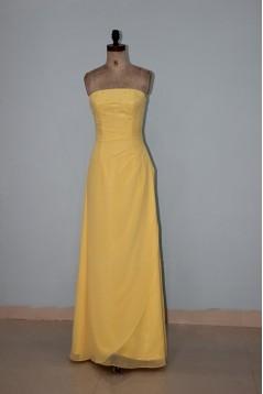 Sheath/Column Strapless Long Yellow Beaded Chiffon Bridesmaid Dresses/Wedding Party Dresses BD010336