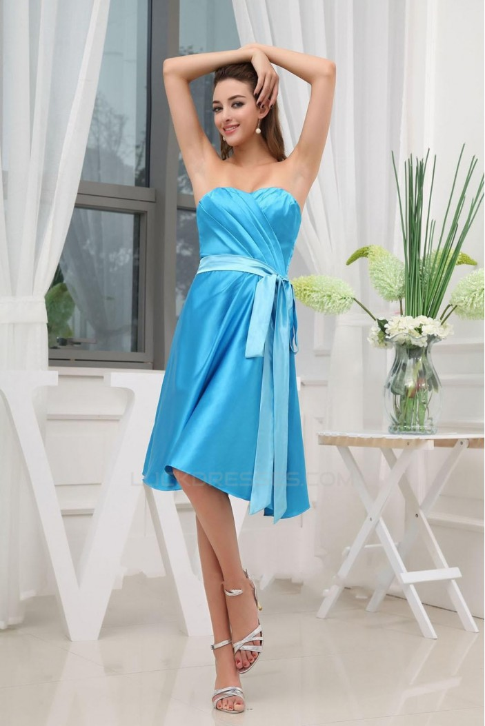 A-Line Sweetheart Short Blue Bridesmaid Dresses/Wedding Party ...
