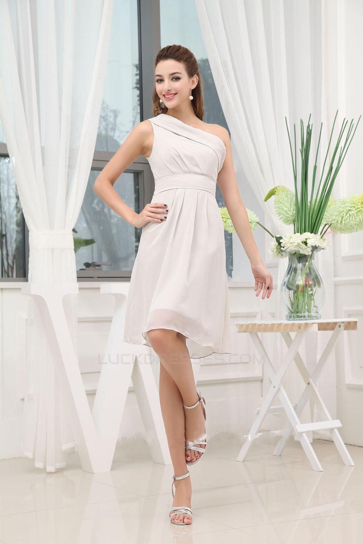 A-Line One-Shoulder Short/Mini Chiffon Bridesmaid Dresses/Wedding ...