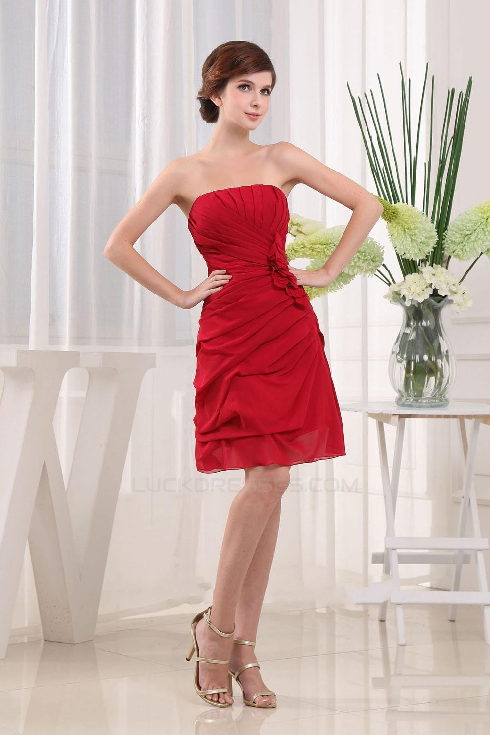 A Line Strapless Short Red Bridesmaid Dresses Wedding