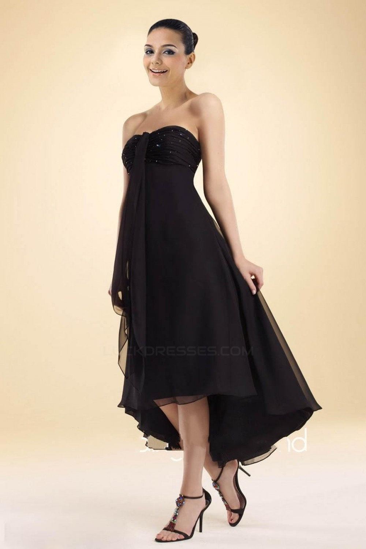 4cb2e880d70b1 High Low Strapless Black Chiffon Bridesmaid Dresses/Wedding Party Dresses  BD010364