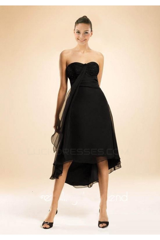 High Low Strapless Black Chiffon Bridesmaid Dresses