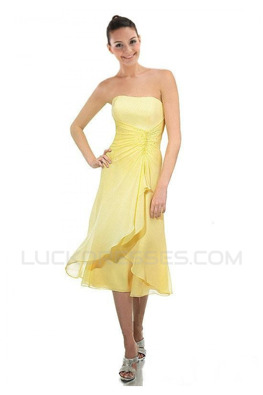 Short yellow chiffon bridesmaid dresses