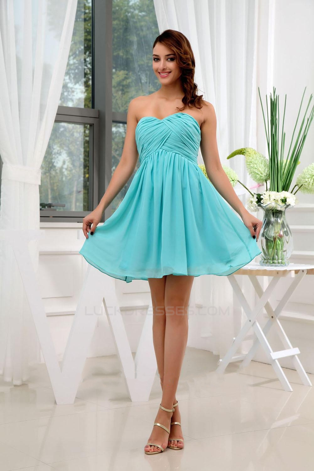 A-Line Sweetheart Short Blue Chiffon Bridesmaid Dresses/Wedding ...