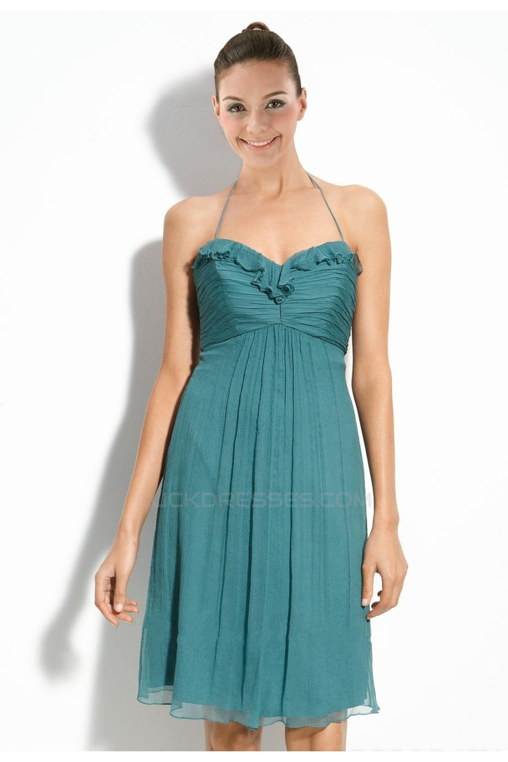 A-Line Halter Short Chiffon Bridesmaid Dresses/Wedding Party Dresses ...