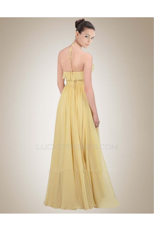 aline halter long yellow chiffon bridesmaid dresses