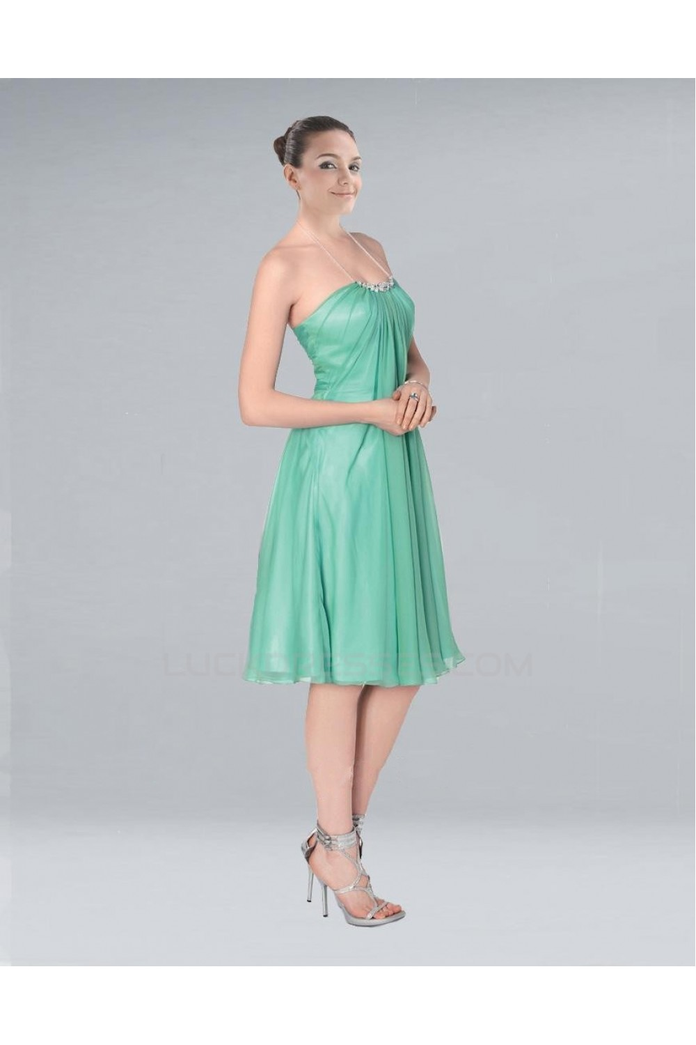 Line Halter Short Green Chiffon Bridesmaid Dresses Wedding Party ...