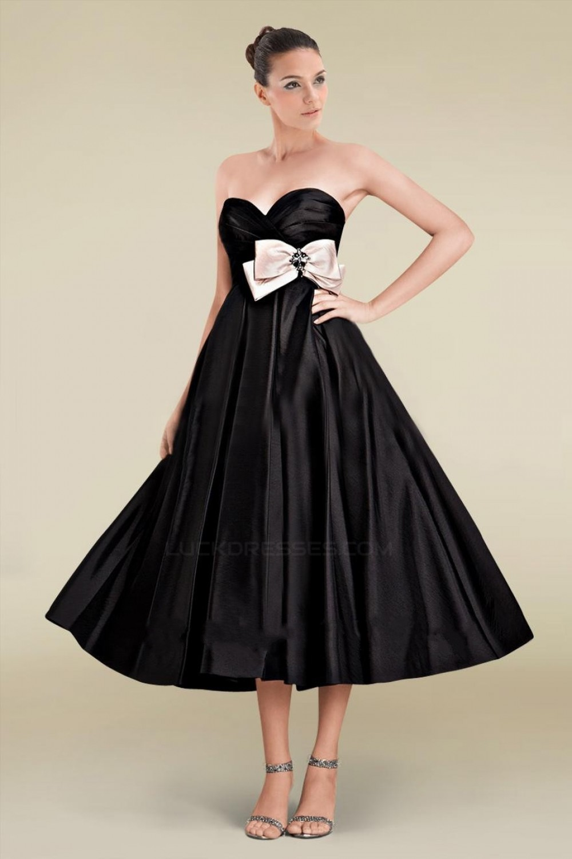 87617cf8e3 A-Line Sweetheart Short Black Bridesmaid Dresses Wedding Party ...