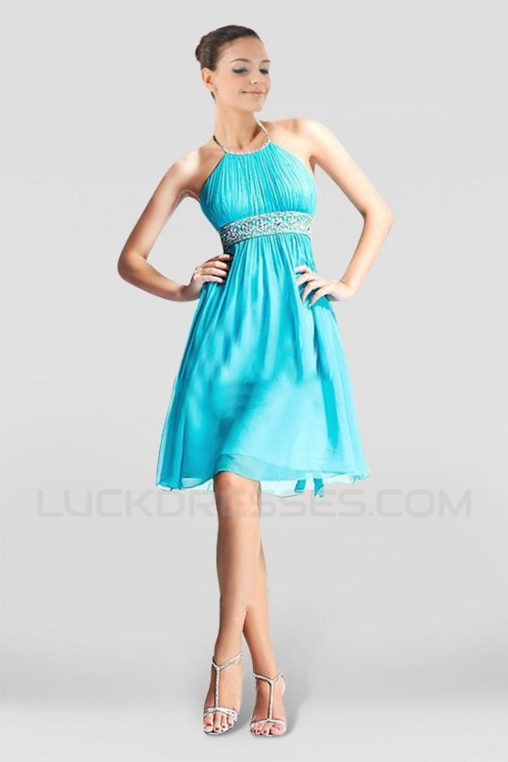 A-Line Beaded Short Blue Chiffon Bridesmaid Dresses/Wedding Party ...