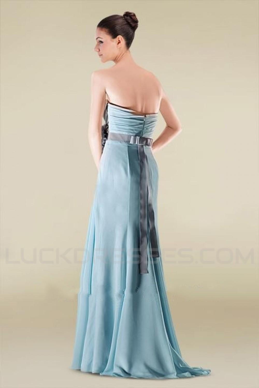 Line Sweetheart Long Blue Chiffon Bridesmaid Dresses/Wedding Party ...