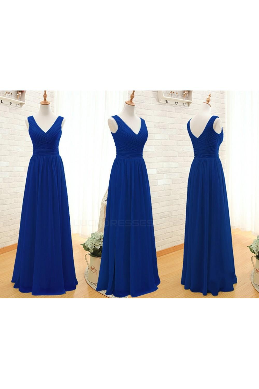2b35ee5b231db A-Line Long Royal Blue Chiffon Bridesmaid Dresses/Wedding Party Dresses  BD010396