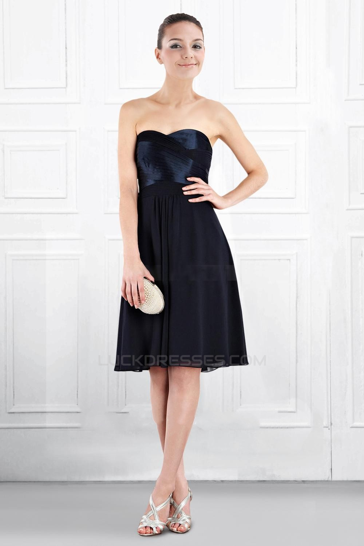 9bb0000d35 A-Line Sweetheart Black Knee-Length Bridesmaid Dresses Wedding ...