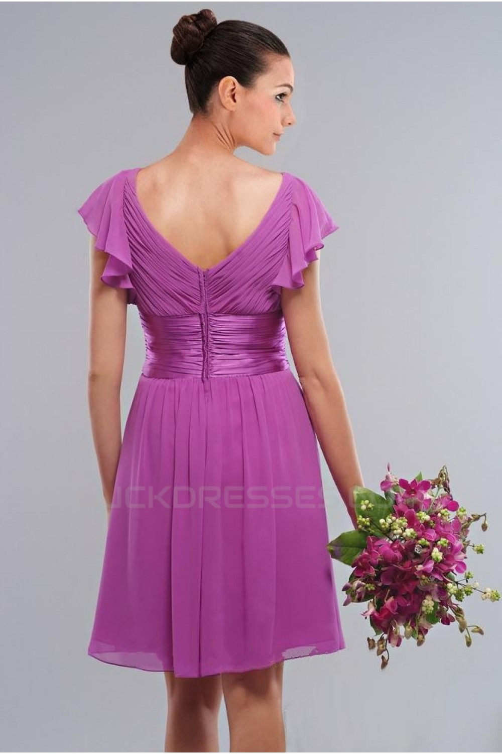 Aline Short Purple Kneelength Bridesmaid Dresseswedding Party Dresses Bd010405: Magenta Short Wedding Dresses At Websimilar.org