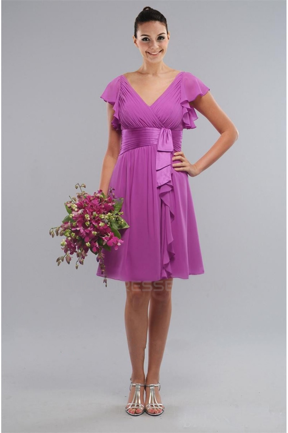 A-Line Short Purple Knee-Length Bridesmaid Dresses/Wedding Party ...