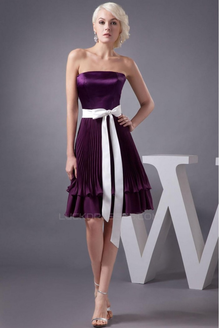 A-Line Strapless Pleated Purple Knee-Length Bridesmaid
