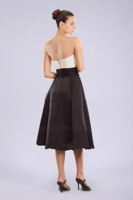 fbd7fc3995 A-Line Strapless Black White Short Bridesmaid Dresses Wedding Party Dresses  BD010429