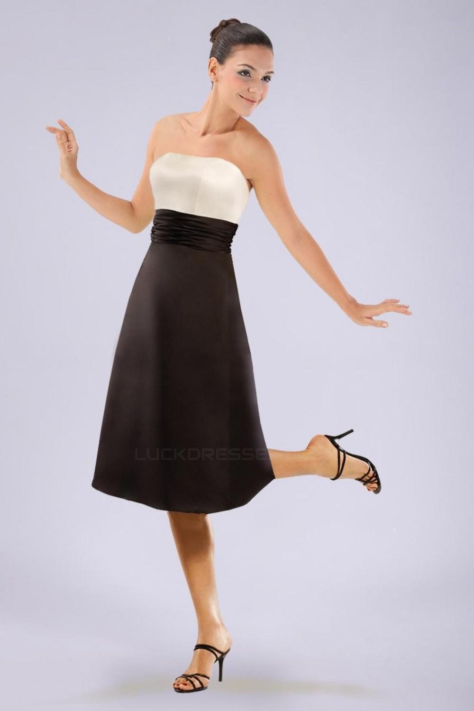 aline strapless black white short bridesmaid dresses