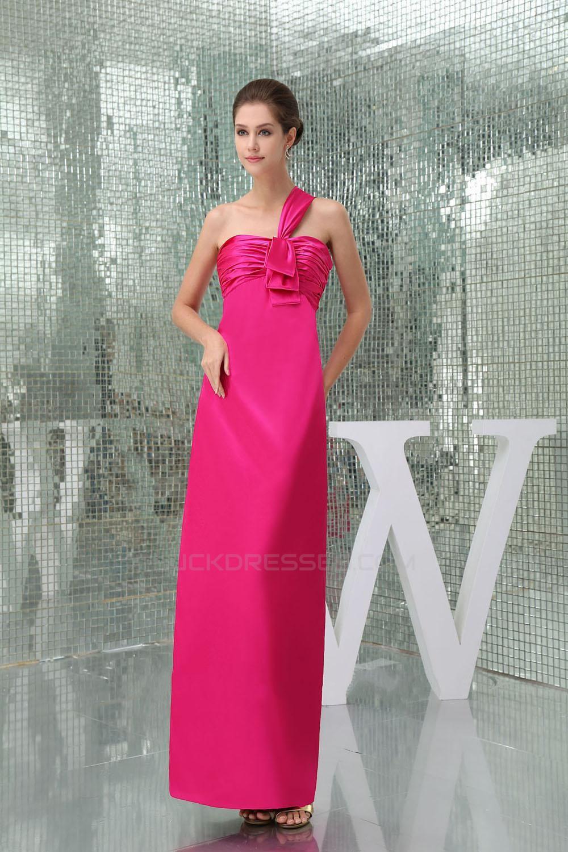 Sheath One Shoulder Hot Pink Long Bridesmaid Dresseswedding Party