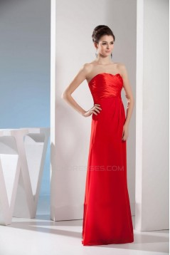 A-Line Strapless Red Floor-Length Bridesmaid Dresses/Wedding Party Dresses BD010438