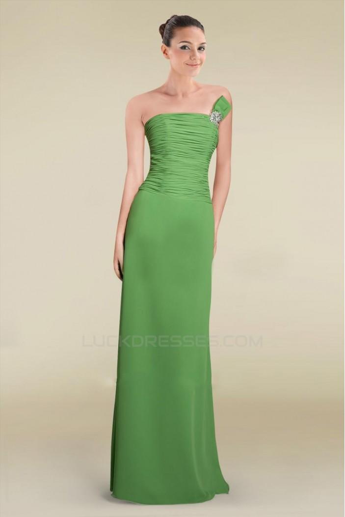 Sheath/Column Strapless Green Floor-Length Chiffon Bridesmaid Dresses/Wedding Party Dresses BD010464