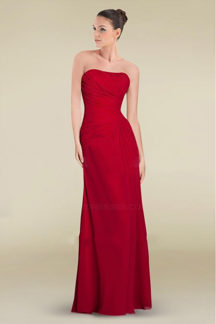 Sheath/Column Strapless Floor-Length Red Chiffon Bridesmaid Dresses/Wedding Party Dresses BD010466