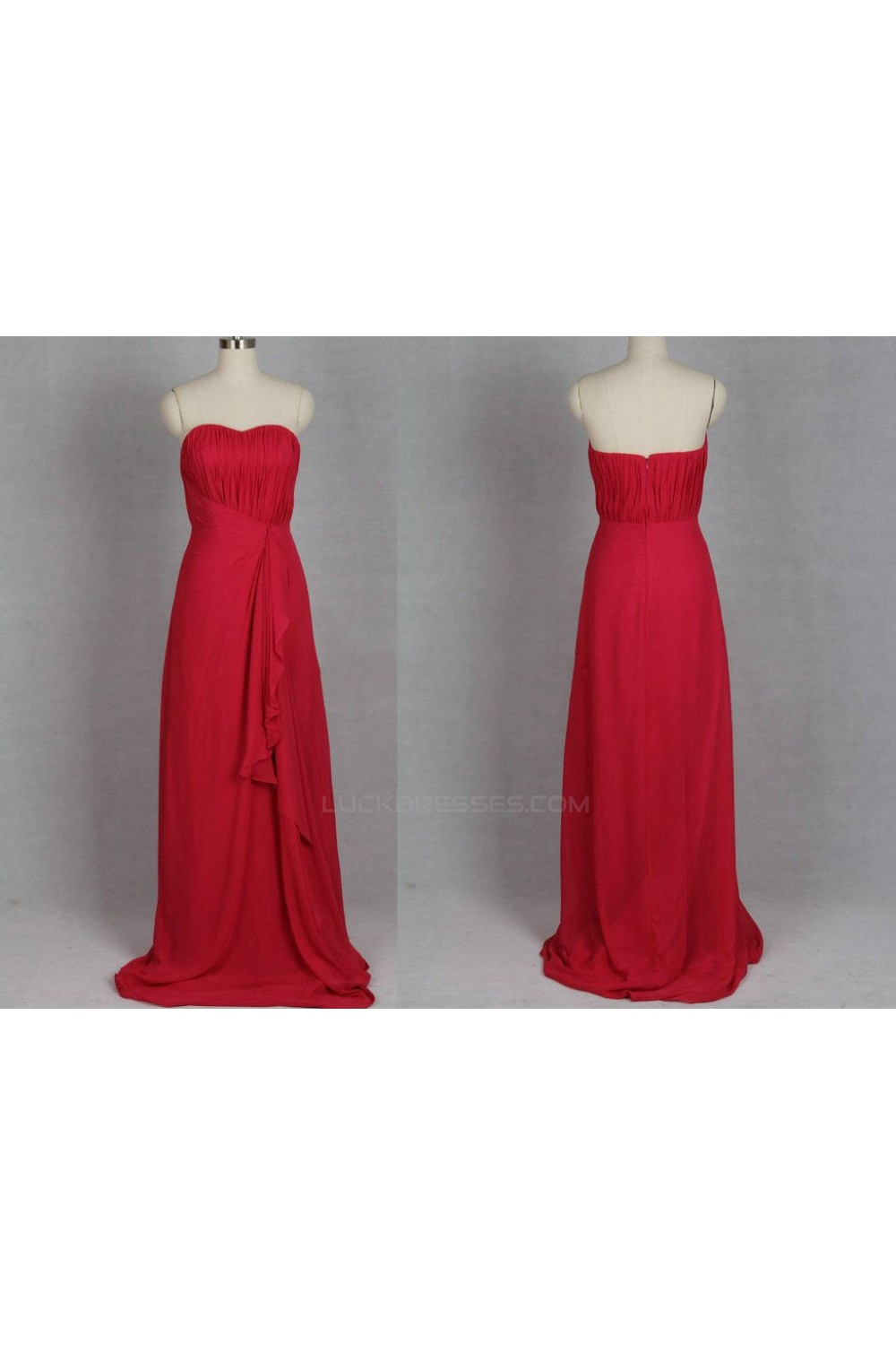 Line strapless long red chiffon bridesmaid dressesevening dresses a line strapless long red chiffon bridesmaid dressesevening dresses bd010506 ombrellifo Image collections
