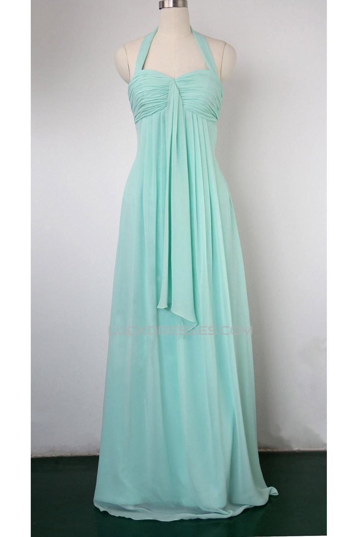Halter Long Blue Chiffon Bridesmaid Dresses/Evening Dresses ...