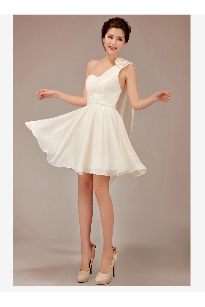 A-Line One-Shoulder Short Chiffon Bridesmaid Dresses/Evening Dresses BD010548