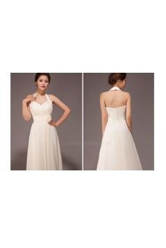 A-Line Halter Long Chiffon Bridesmaid Dresses/Evening Dresses BD010559