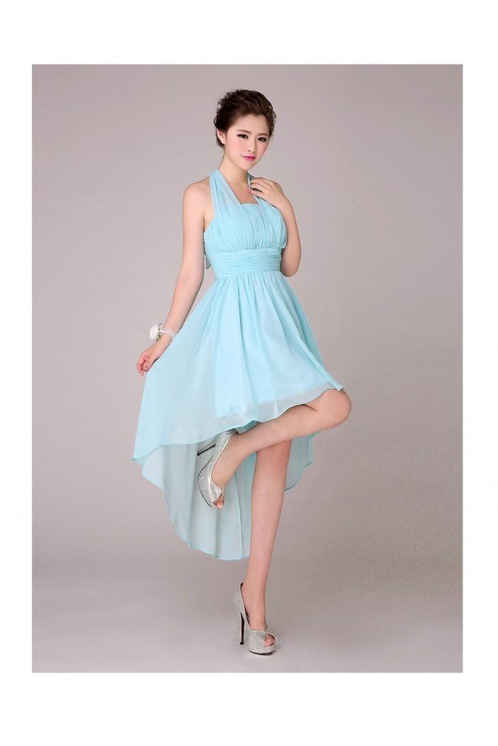 High Low Halter Short Blue Chiffon Bridesmaid Dresses/Evening Dresses BD010569