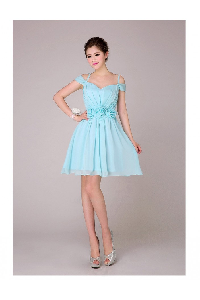 A-Line Off-The-Shoulder Short Blue Chiffon Bridesmaid Dresses/Evening Dresses BD010570
