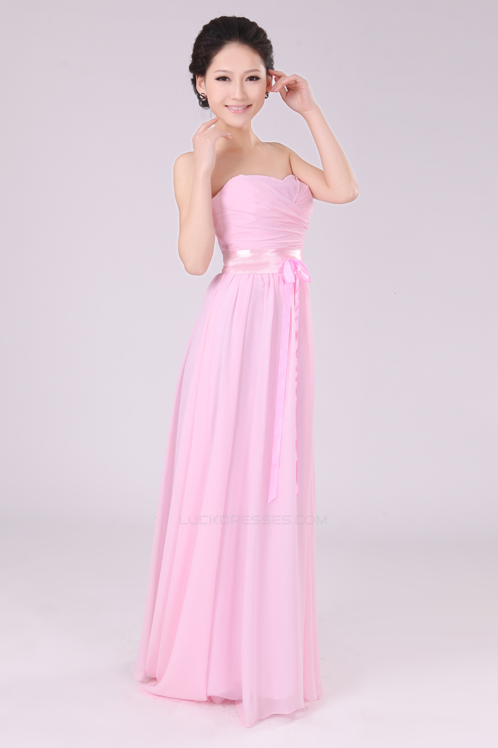 A Line Strapless Long Pink Chiffon Bridesmaid Dresses