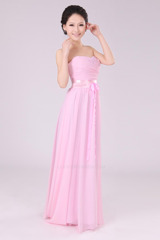 A-Line Strapless Long Pink Chiffon Bridesmaid Dresses