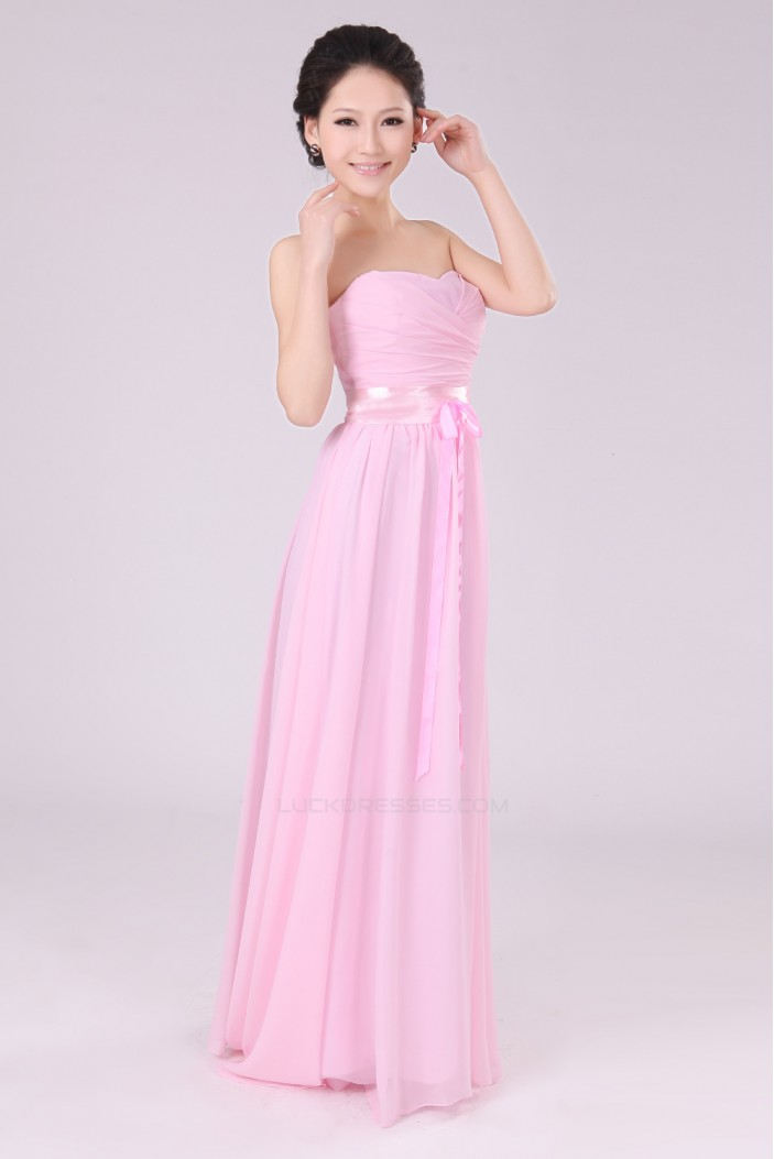 A line strapless long pink chiffon bridesmaid dresses for Long strapless wedding dresses